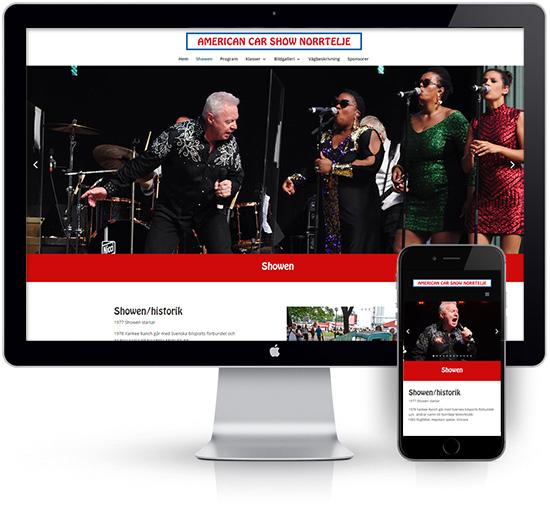 webbyrå Webpunkten. Webbdesign av mobilanpassad webbplats i WordPress och sökmotoroptimering. Kund American Car Show