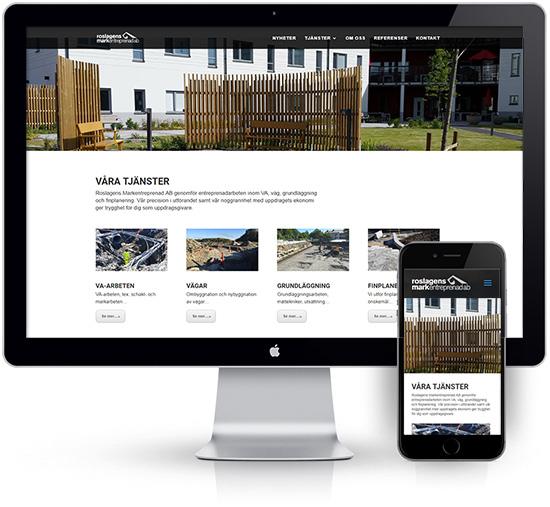 webbyrå Webpunkten. Webbdesign av mobilanpassad webbplats i WordPress och sökmotoroptimering. Kund Roslagens Markentreprenad