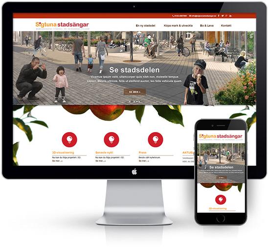 webbyrå Webpunkten. Webbdesign av mobilanpassad webbplats i WordPress och sökmotoroptimering. Kund Sigtuna Stadsängar