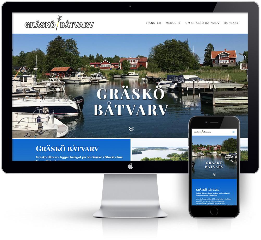 webbyrå Webpunkten. Webbdesign av mobilanpassad webbplats i WordPress och sökmotoroptimering. Kund Gräskö Båtvarv