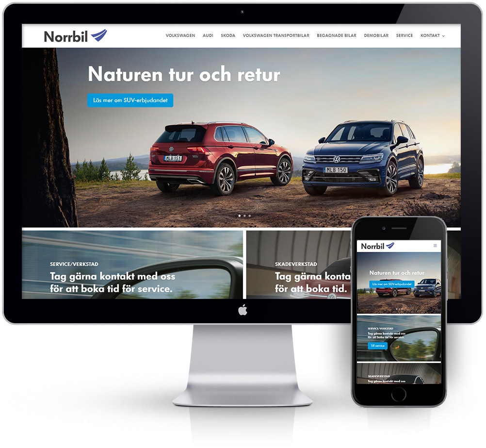 webbyrå Webpunkten. Webbdesign av mobilanpassad webbplats i WordPress och sökmotoroptimering. Kund Norrbil