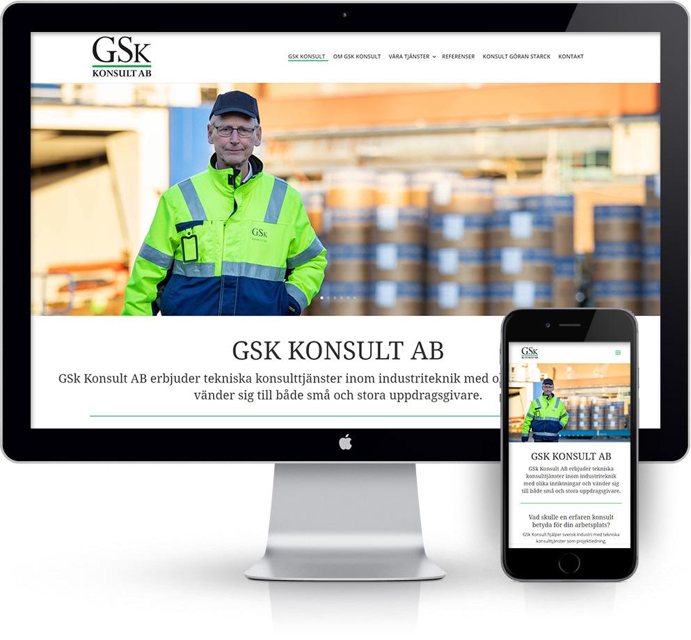 webbyrå Webpunkten. Webbdesign av mobilanpassad webbplats i WordPress och sökmotoroptimering. Kund GSk konsult