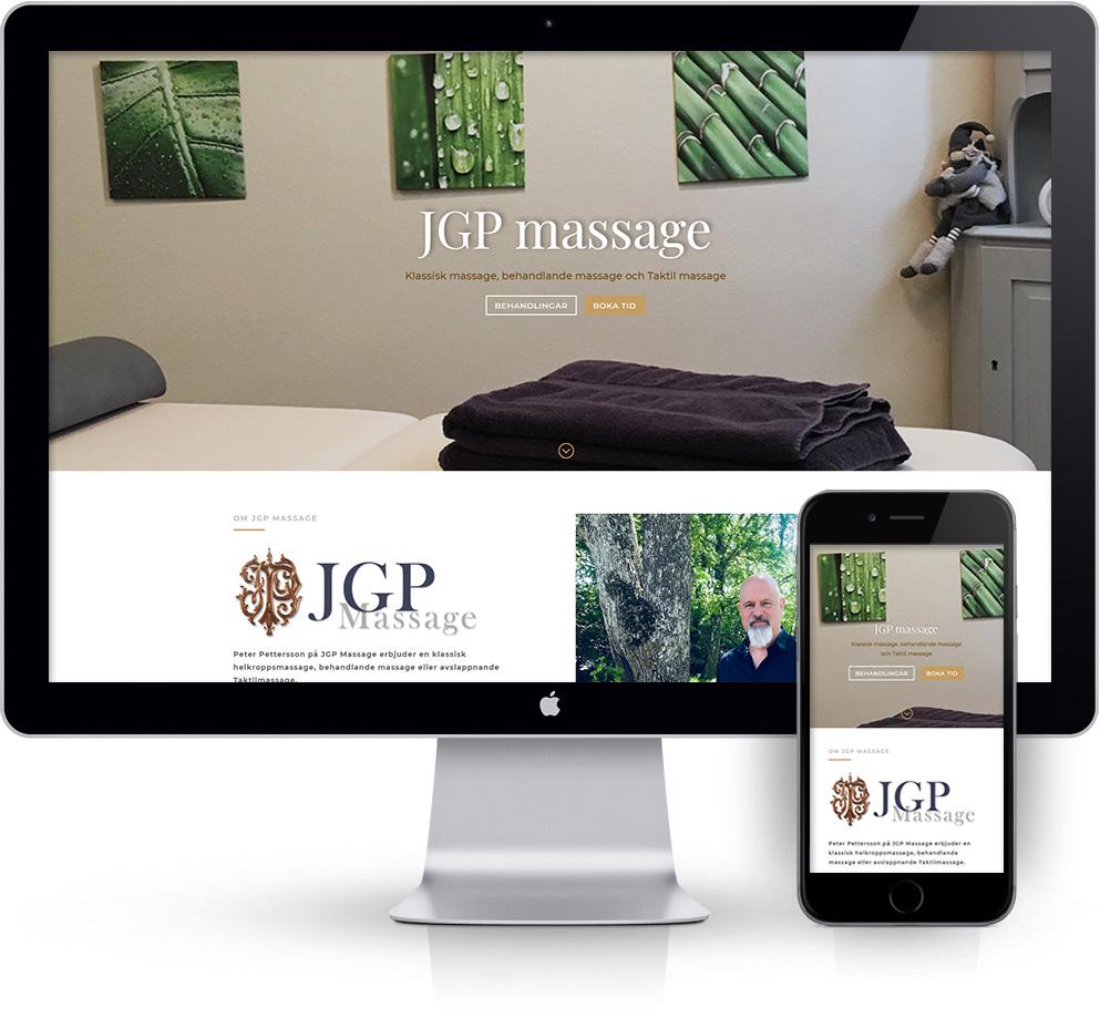 webbyrå Webpunkten. Webbdesign av mobilanpassad webbplats i WordPress och sökmotoroptimering. Kund JGP Massage