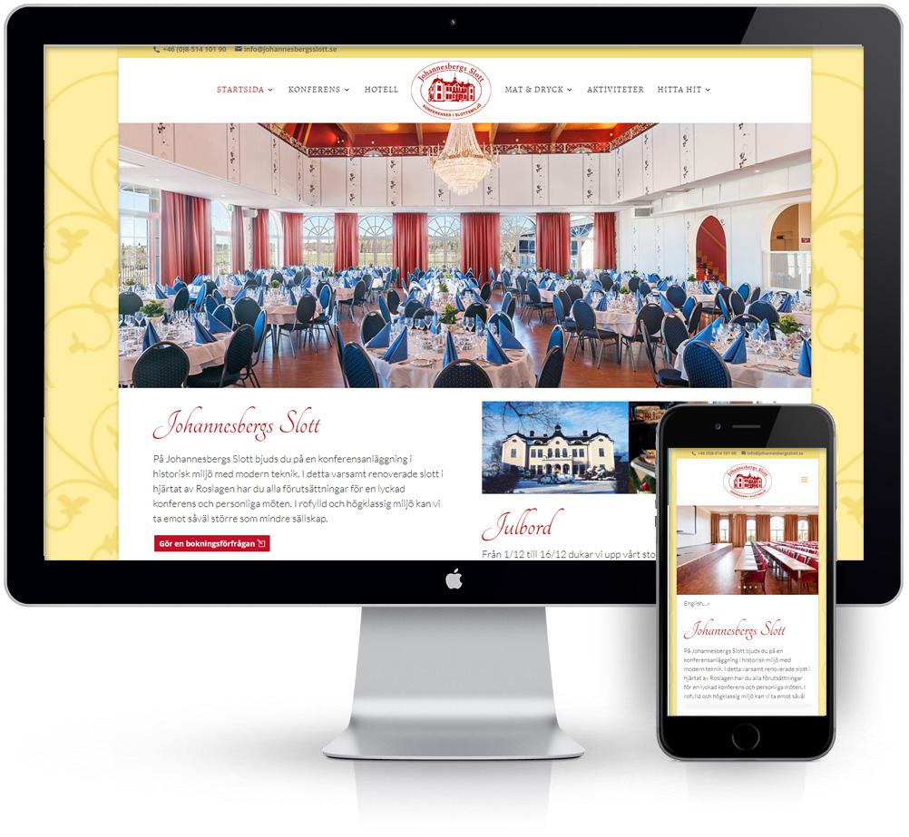 webbyrå Webpunkten. Webbdesign av mobilanpassad webbplats i WordPress och sökmotoroptimering. Kund Johannesbergs Slott