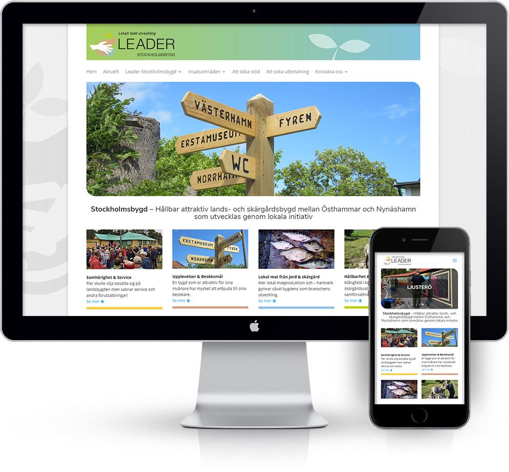 webbyrå Webpunkten. Webbdesign av mobilanpassad webbplats i WordPress och sökmotoroptimering. Kund Leader Stockholmsbygd