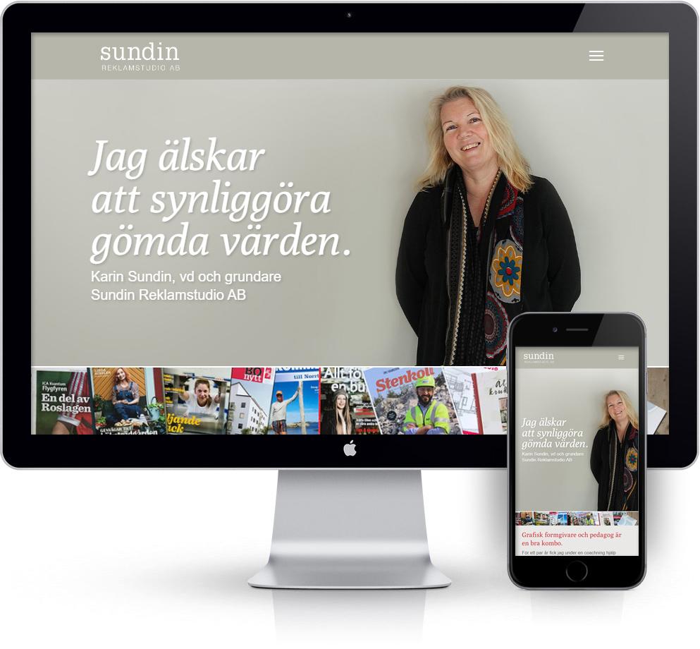 webbyrå Webpunkten. Webbdesign av mobilanpassad webbplats i WordPress och sökmotoroptimering. Kund Sundin Reklamstudio
